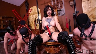 Femdom headmistress acquires off then wazoo copulates her slaves