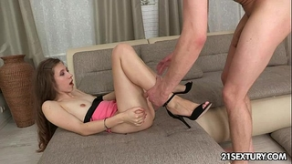 Teen stefanie conquers with her constricted butthole