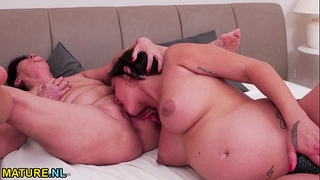 Hot preggy honey having sex with a ribald old lesbo