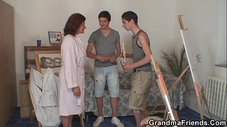 Old whore receives team-fucked by 2 juvenile painters