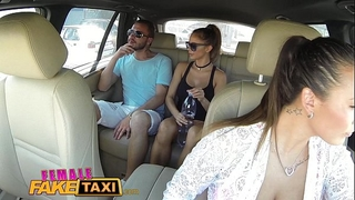 Female fake taxi brunette hair cabbie drilled doggy style in car trunk