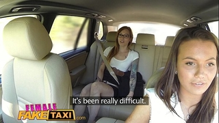 Female fake taxi excited smutty lesbos take up with the tongue bald soaked snatch in taxi