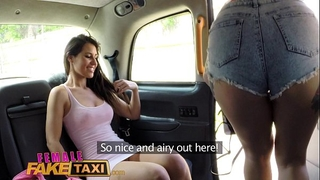 Female fake taxi lesbo cunt eating session in cab