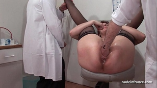 French squirt redhead a-hole inspected doublefist screwed at the gyneco
