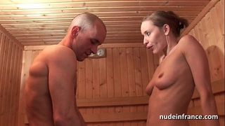 Horny blond hard anal screwed whilst getting her love tunnel bald in a sauna