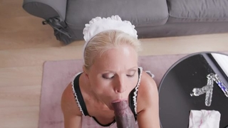 Lusty maid with natural tits gets banged in the living room