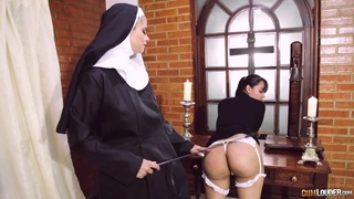 Perverted nun fucks her girlfriend with strapon dildo