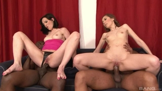 Pair of nasty brunettes pleasuring two horny black stallions