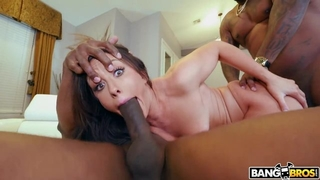 Dark-haired minx takes BBCs in her pussy and asshole