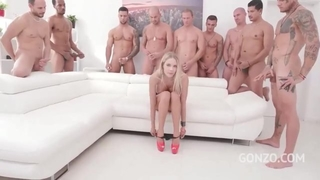 Kinky Czech babe gets gang banged in the living room