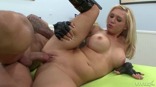 Blonde hussy in high boots fucks bald-headed guy in bed