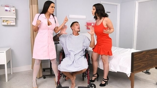 Tattooed stud fucks two exotic beauties on hospital bed