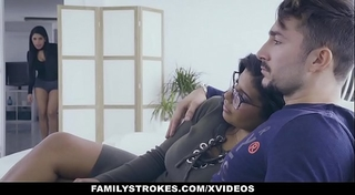 Familystrokes - sexy latin twin sisters compete for rod