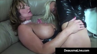 Role play by hawt cat woman milf deauxma ends in three way fuck!