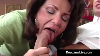 Busty cougar deauxma copulates the tax chap in her abode! oho!